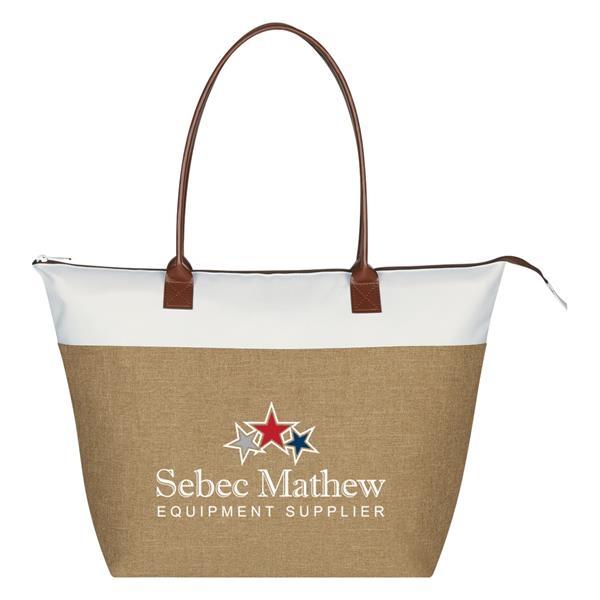"Regatta Tote Bag - Regatta Tote Bag.  Made of Polycanvas.  Top Zippered Closure.  22"" Leatherette Handles. Spot Clean/Air Dry."