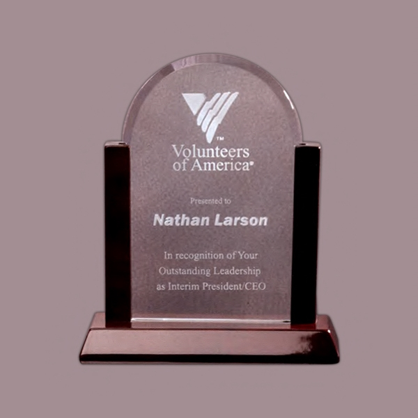 Arched Award With A High Polished Rosewood Stand Photo