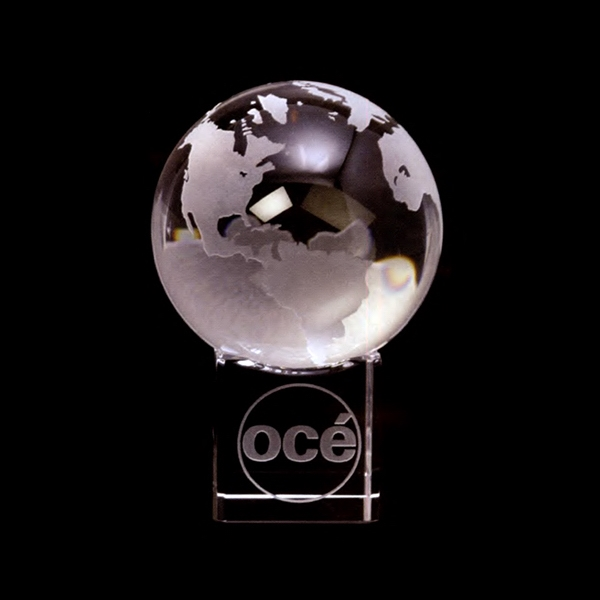 Crystal Globe Award With Crystal Cube Base Photo
