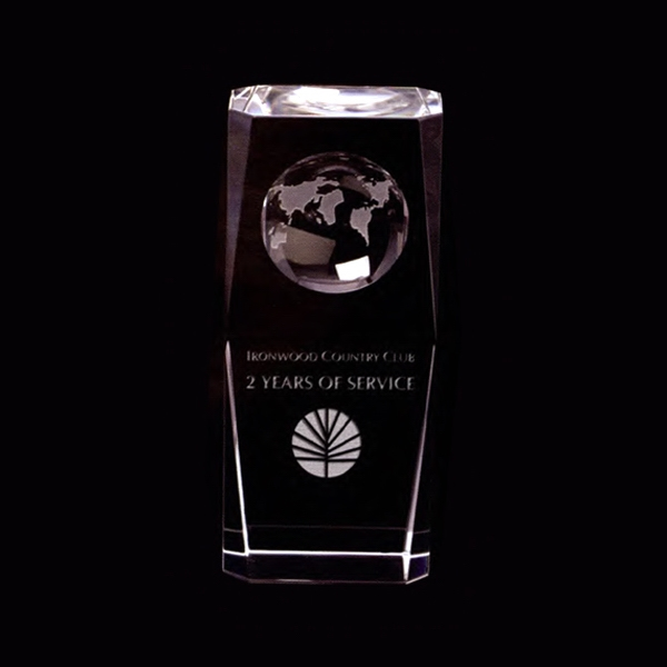 Optical Crystal Column Award With Globe Photo