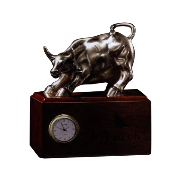 Bronze Bull On Wood Base With Clock Photo