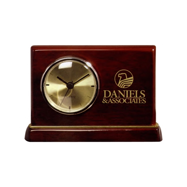 Barrister - Horizontal Rosewood Clock With Brass Trim Photo