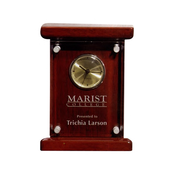 Barrister - Mantle Clock With Brass Face Bezel, Pegs And Second Hand Photo