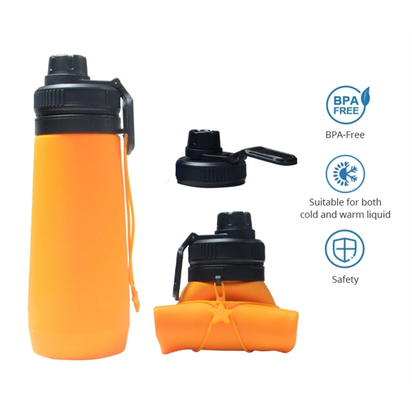 Foldable Silicone Water Bottle, 23 oz.