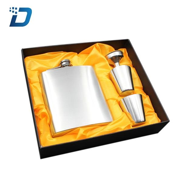 Mens Stainless Steel Hip Flask Set