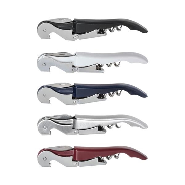 Waiter's Corkscrew Wine Bottle Opener - Waiter's double-hinged corkscrew with a stainless steel blade and bottle opener.