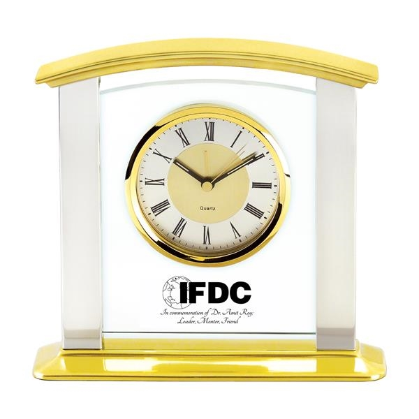 Glass & Brass Mantel Clock with Silver Columns