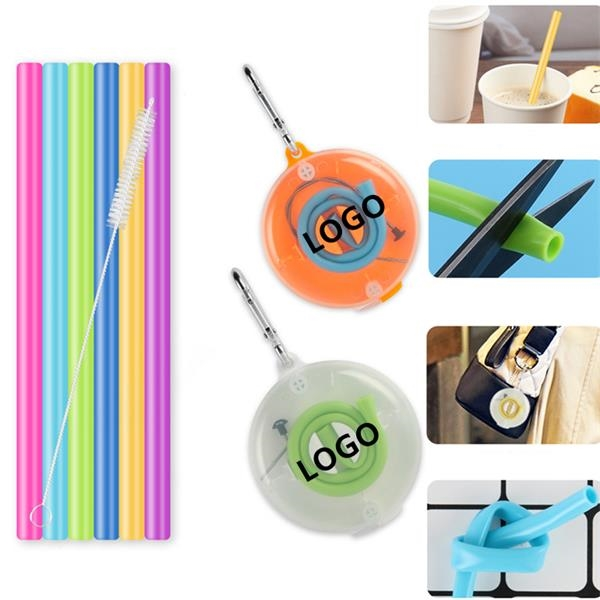 Portable Silicone Collapsible Straw Set