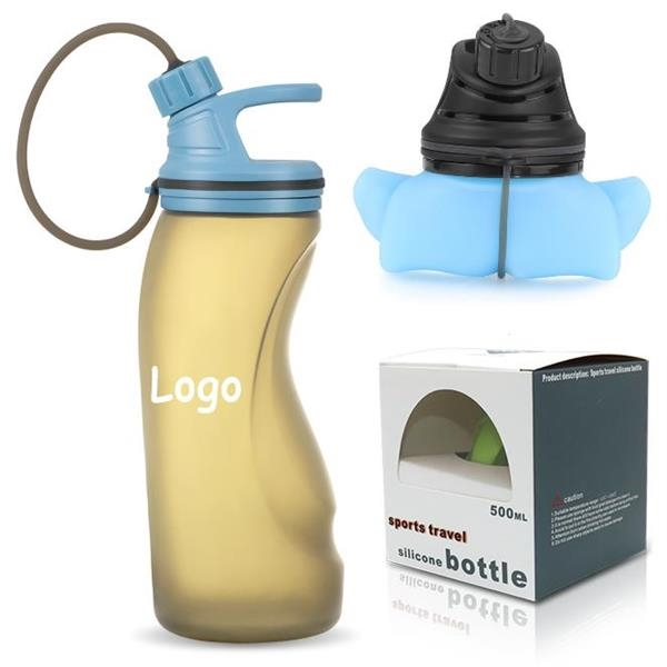 17Oz Foldable Silicone Sports Water Bottle BPA Free