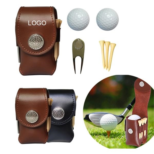 Leather Golf Set Holder Pouch