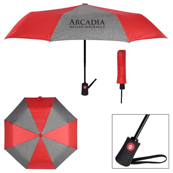 "42"" Arc Heathered Telescopic Folding Umbrella"