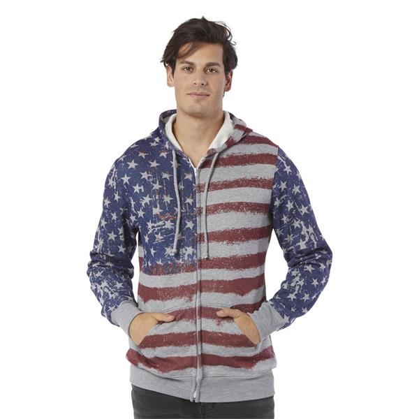 Adults U.S. Flag Hooded Sublimated Fullzip Sweatshirt