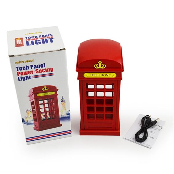 Exquisite Retro Telephone Booth Shape Warm Light LED Lamp