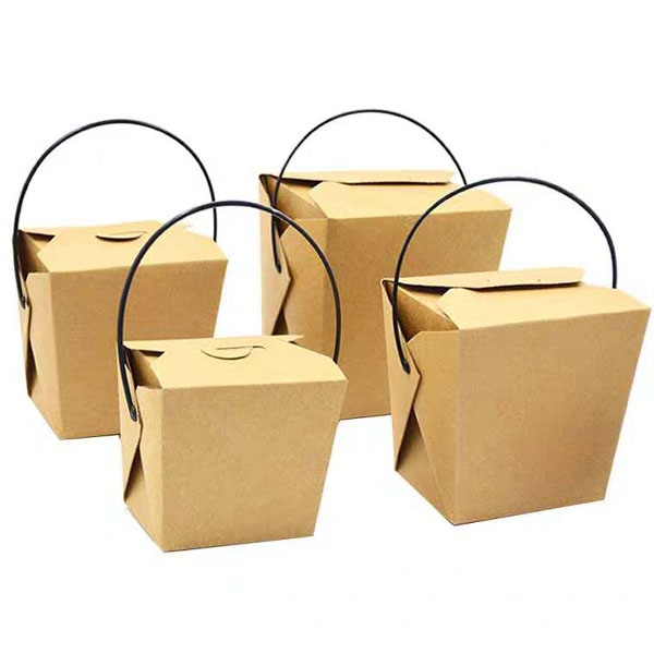 Kraft paper Eco food box with handle