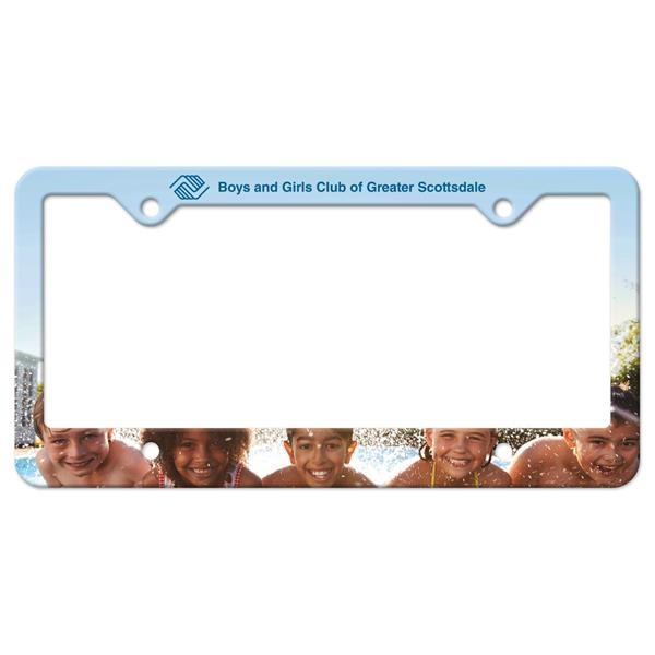 White Auto License Frame w/ 4 Holes & Large Bottom Straight