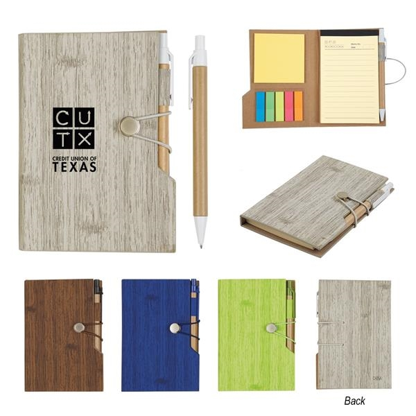 "4"" X 6"" Woodgrain Look Notebook With Sticky Notes And Flags"