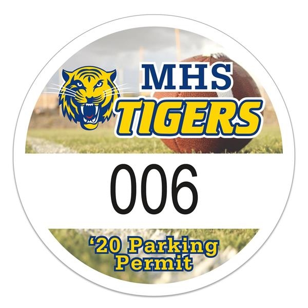 Round White Vinyl Full Color Numbered Outside Parking