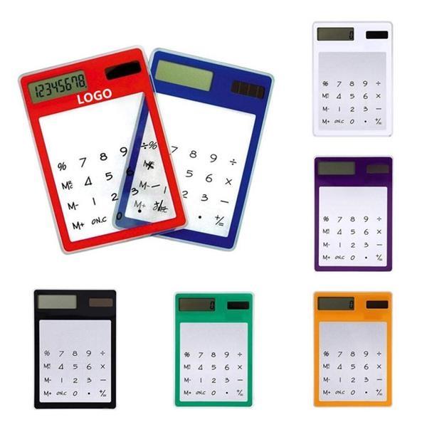 Portable Transparent Solar Touch Calculators