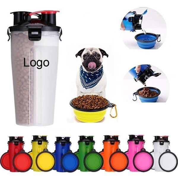 2 In 1 Portable Pet Food/Drink Bottle With Folding Bowls