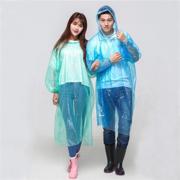 Disposable Hooded Rain Poncho