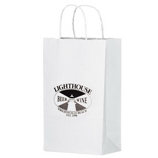 White Kraft Paper Shopper Bag - Flexo Ink