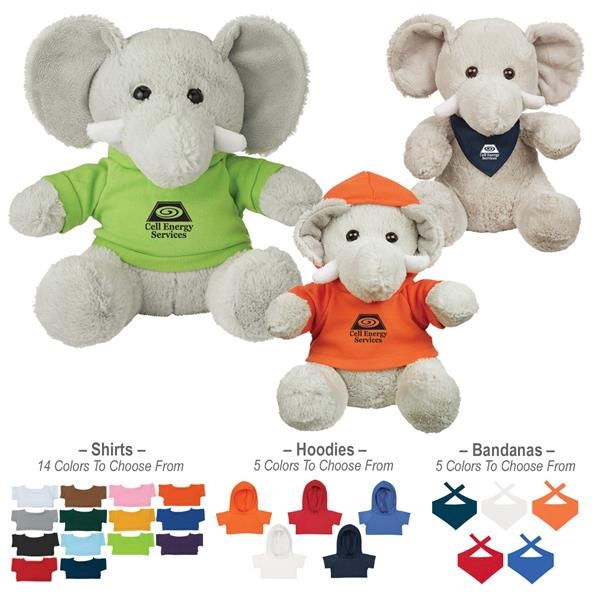 8 1/2 Plush Excellent Elephant With Shirt