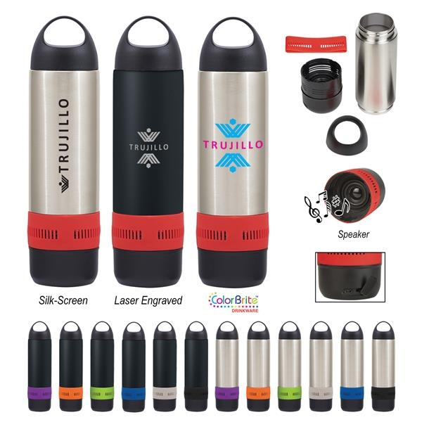 11 Oz. Stainless Steel Rumble Bottle With Speaker
