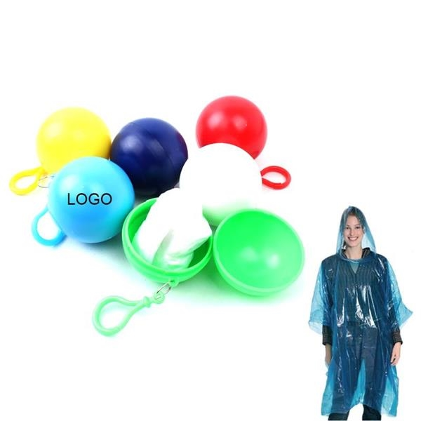 Disposable Raincoat Ball With Keychain