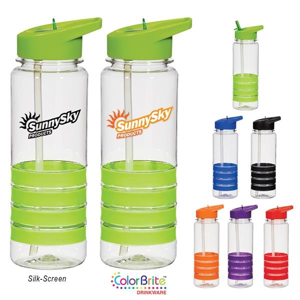 24 Oz. Tritan Banded Gripper Bottle With Straw