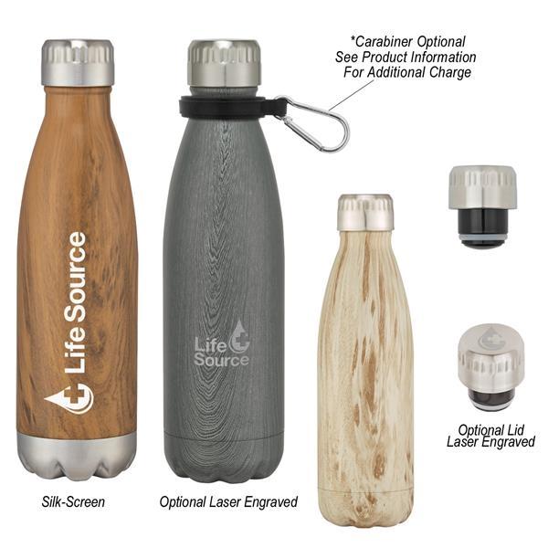16 Oz. Swiggy Stainless Steel Woodtone Bottle