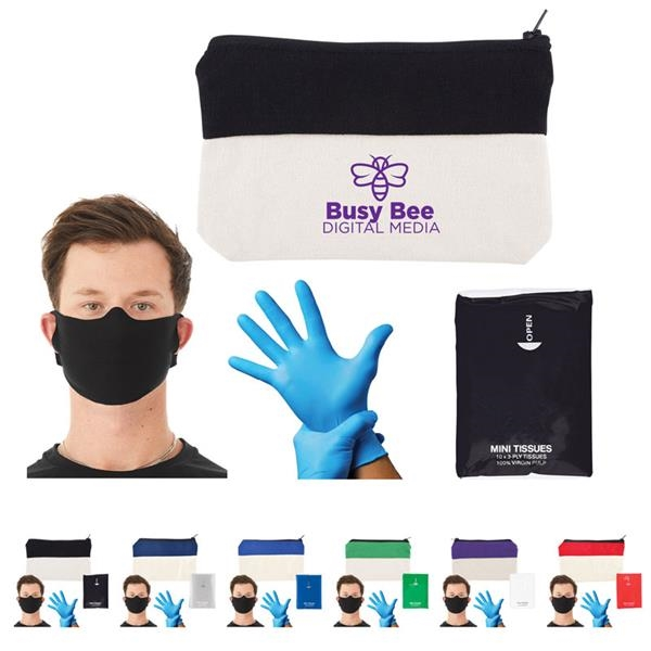 Dropping By Kit - Dropping By Kit includes pouch, mini tissues, 1 pair of disposable Nitrile gloves and one Bella+Canvas® Daily Face Cover/Mask.