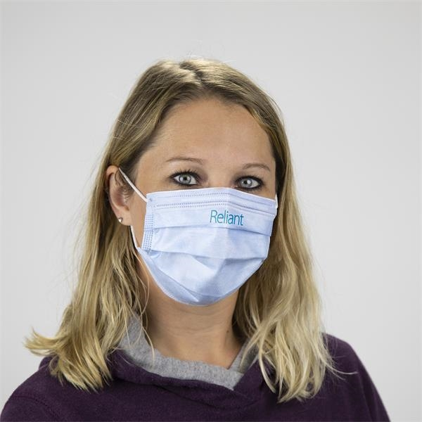 Custom Printed 3-Ply Face Mask - Disposable non-woven face masks feature 95% bacterial filtration efficiency.