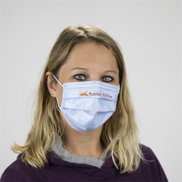 Custom Multi-Color Printed 3-Ply Face Mask - Disposable non-woven face masks feature 95% bacterial filtration efficiency.
