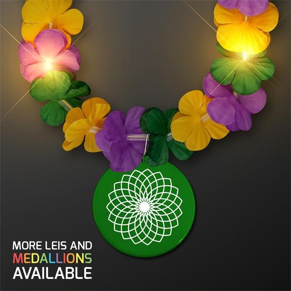 Mardi Gras Lei Light Up Flower Necklace with Medallion