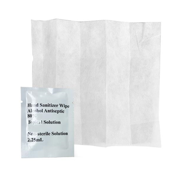 Antiseptic Sanitizer Wipes - 80% Alcohol Antiseptic Sanitizer Hand Wipes. Come in boxes of 50 and packed as tandems. No customization avaialble.