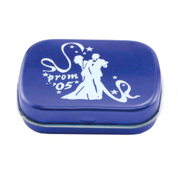 Small Mint Tin Filled With Small Chocolate Flavored Mints Photo