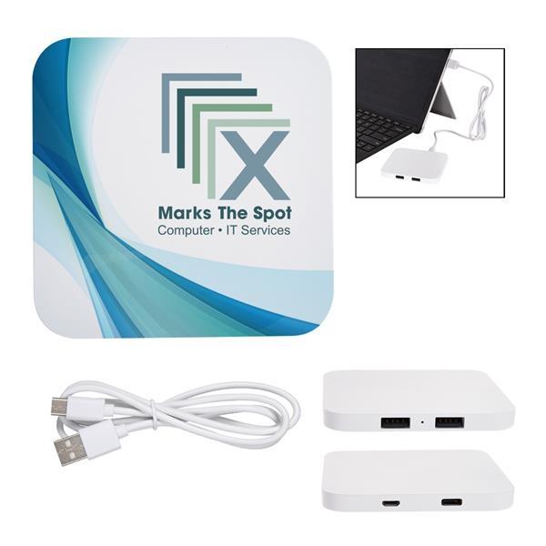 Power Up 2-Port USB Hub & Wireless Charging Pad