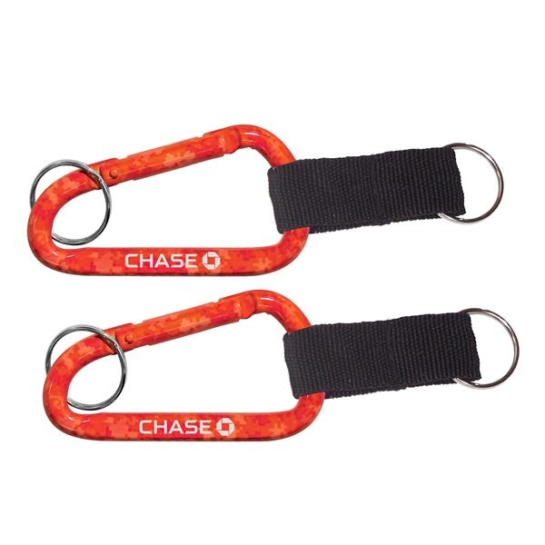Red Camouflage Carabiner with Strap and Split Ring