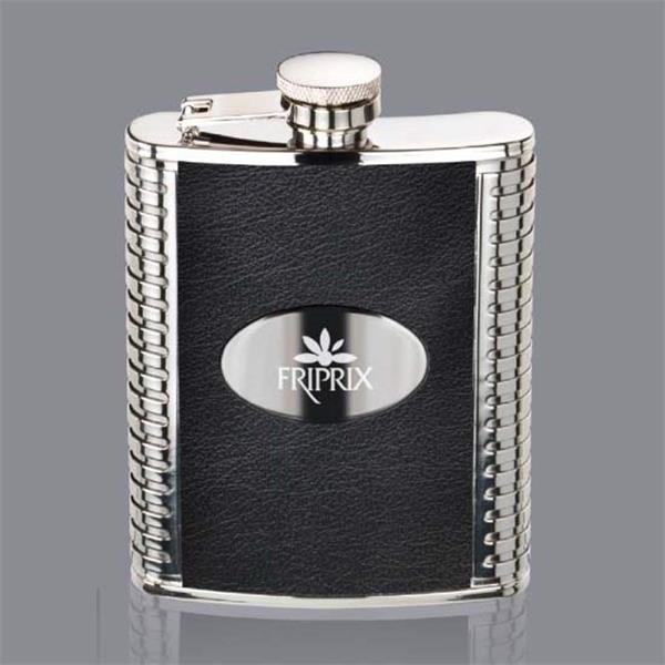 Trubner Hip Flask -  Black/Stainless Plate