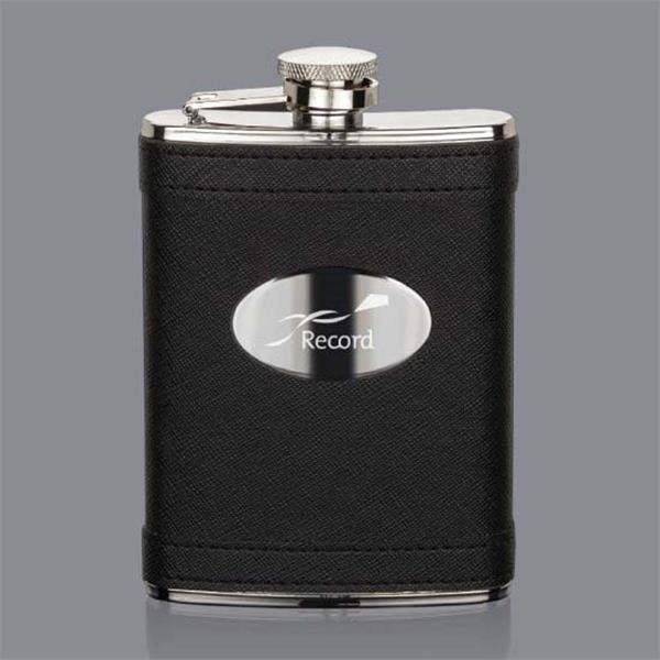 Hodge Hip Flask -  Black/Stainless Plate