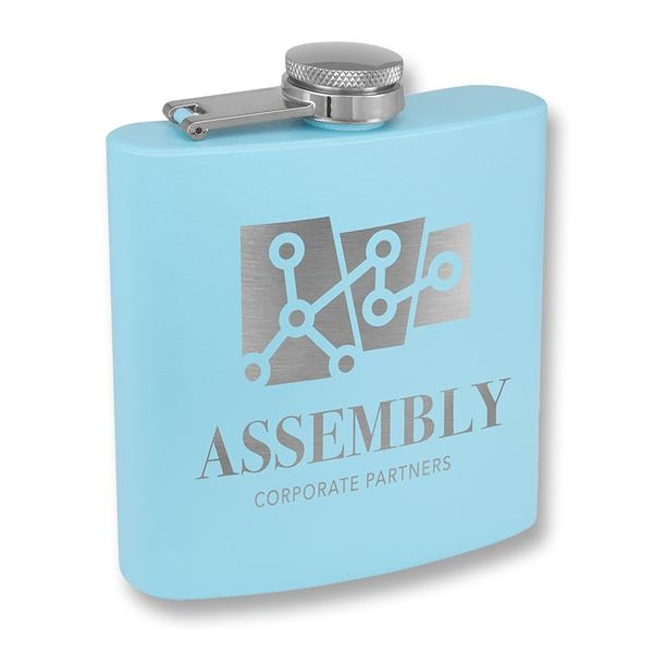Light Blue Powder Coated Stainless Steel Flask, 6 oz
