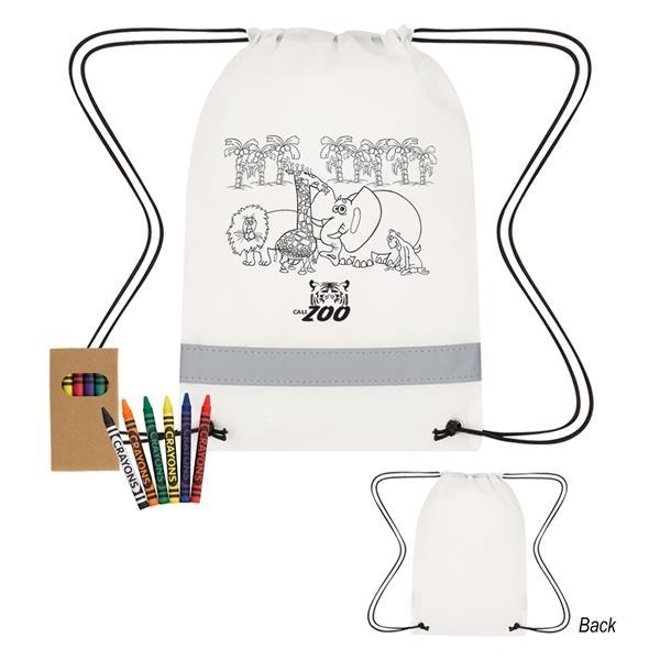 Lil' Bit Reflective Coloring Drawstring Bag With Crayons