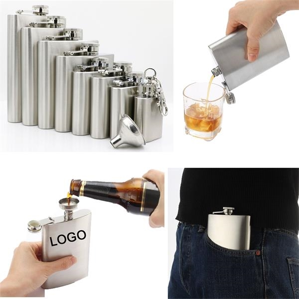 Engraved 1-8 oz Shot Flask with Useful Funnel