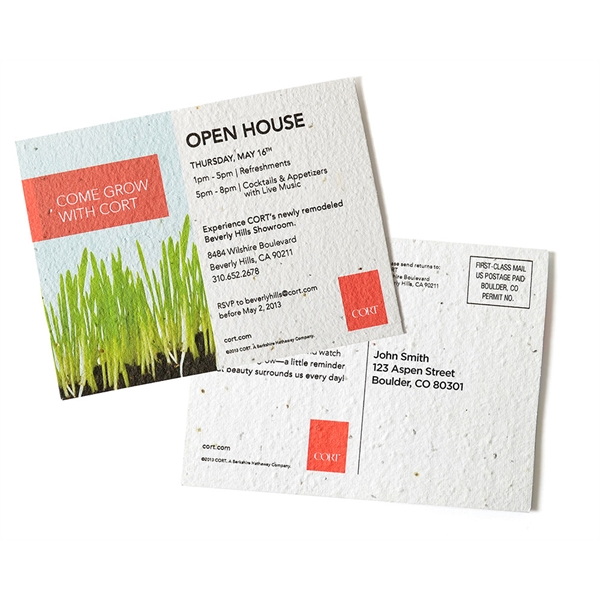 Seed paper mailing postcard