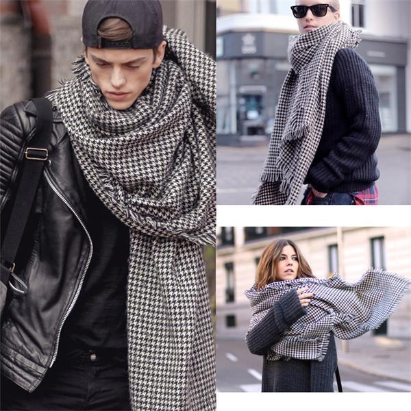 Houndstooth Blanket Wrap Scarf Black/White