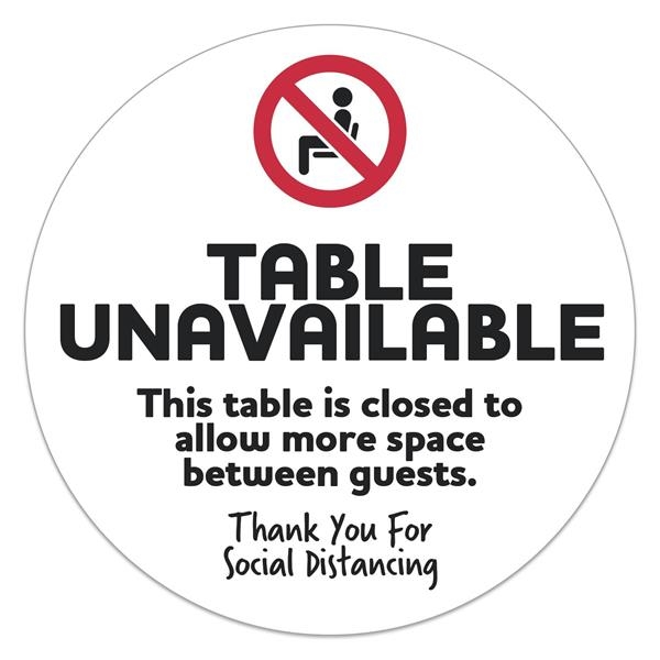 "Social Distancing Table Sticker Circle (8"" Diameter) Screen"