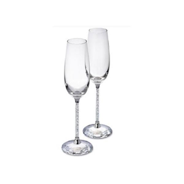 Pair of Crystalline Toasting Flutes