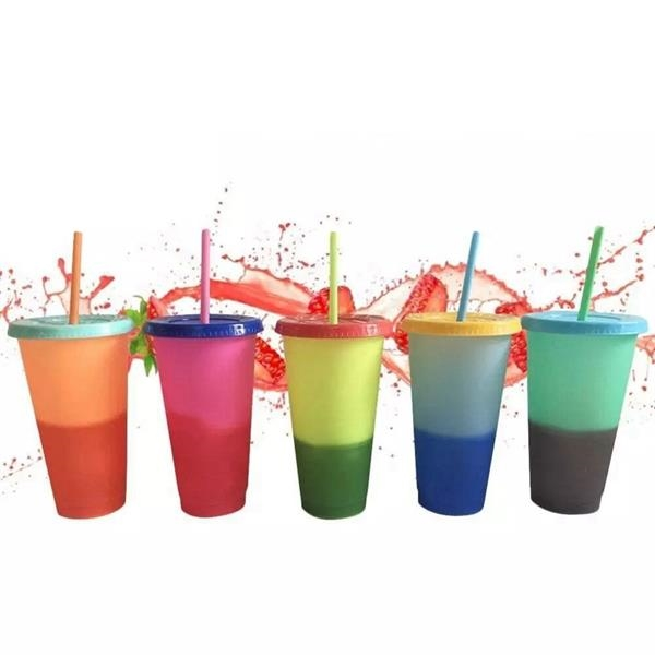 24 oz BPA Free Cold Water Color Changing Cup with Straw