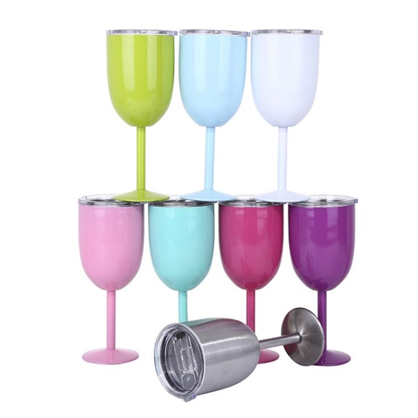 10oz Double Wall Stainless Steel Goblet With Lid