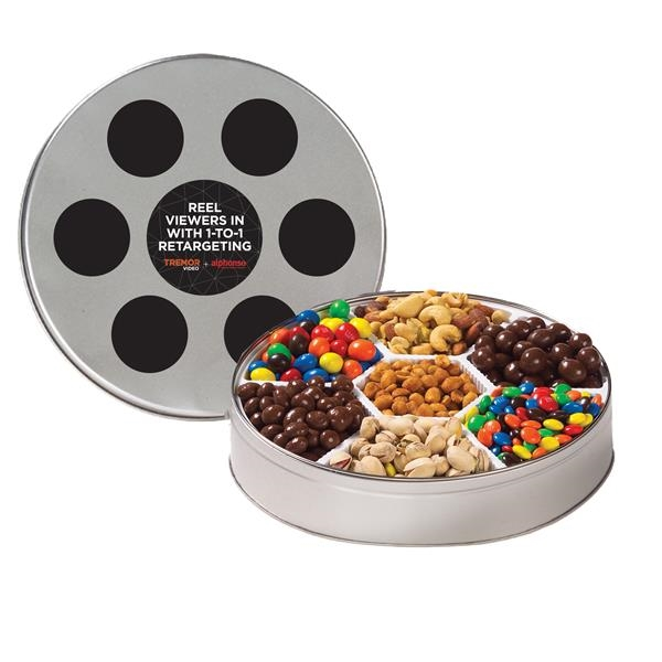 Large Film Reel Tin / 7 Way Snack Tin